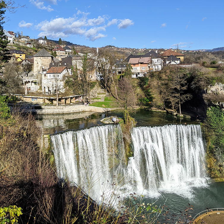 Jajce View with Waterfall and Old Town