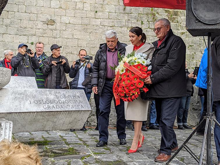 Montenegrin Delegation Laying Wreaths at Dani AVNOJa 2019
