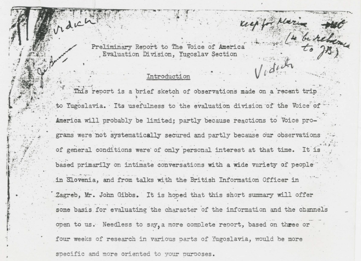 Screenshot of Arthur Vidichs Voice of America report of interest to UDBA