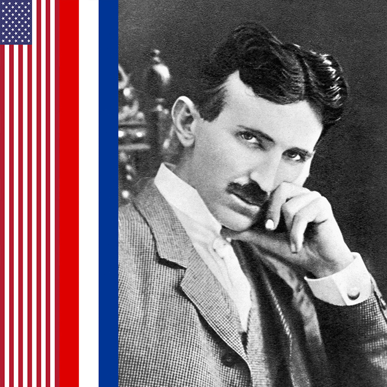 Nikola Tesla with flags