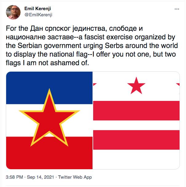 Yugoslavia - Washington DC flags in tweet