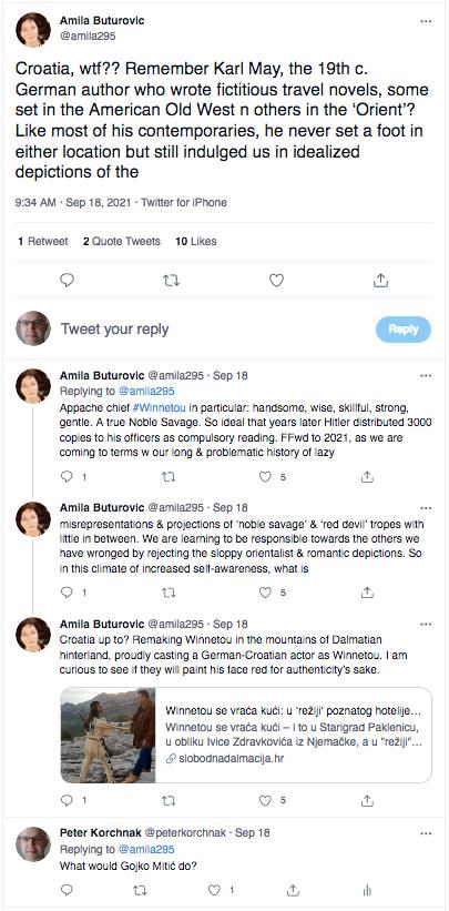 Screen Shot of Twitter thread about Winnetou