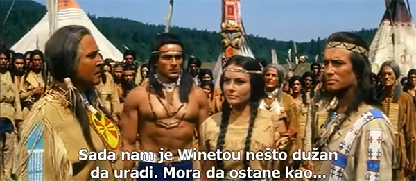 Pierre Brice as Winnetou on the right, topless Gojko Mitić as White Raven, brother of Winnetou's love interest Ribanna, in Winnetou 2: Last of the Renegades