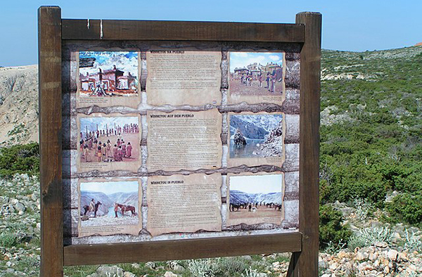An information tableau about the filming of Winnetou at Zrmaja Canyon